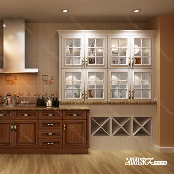 在单色背景下,局部进行木纹的点缀或自然的木纹的橱柜将会受欢迎